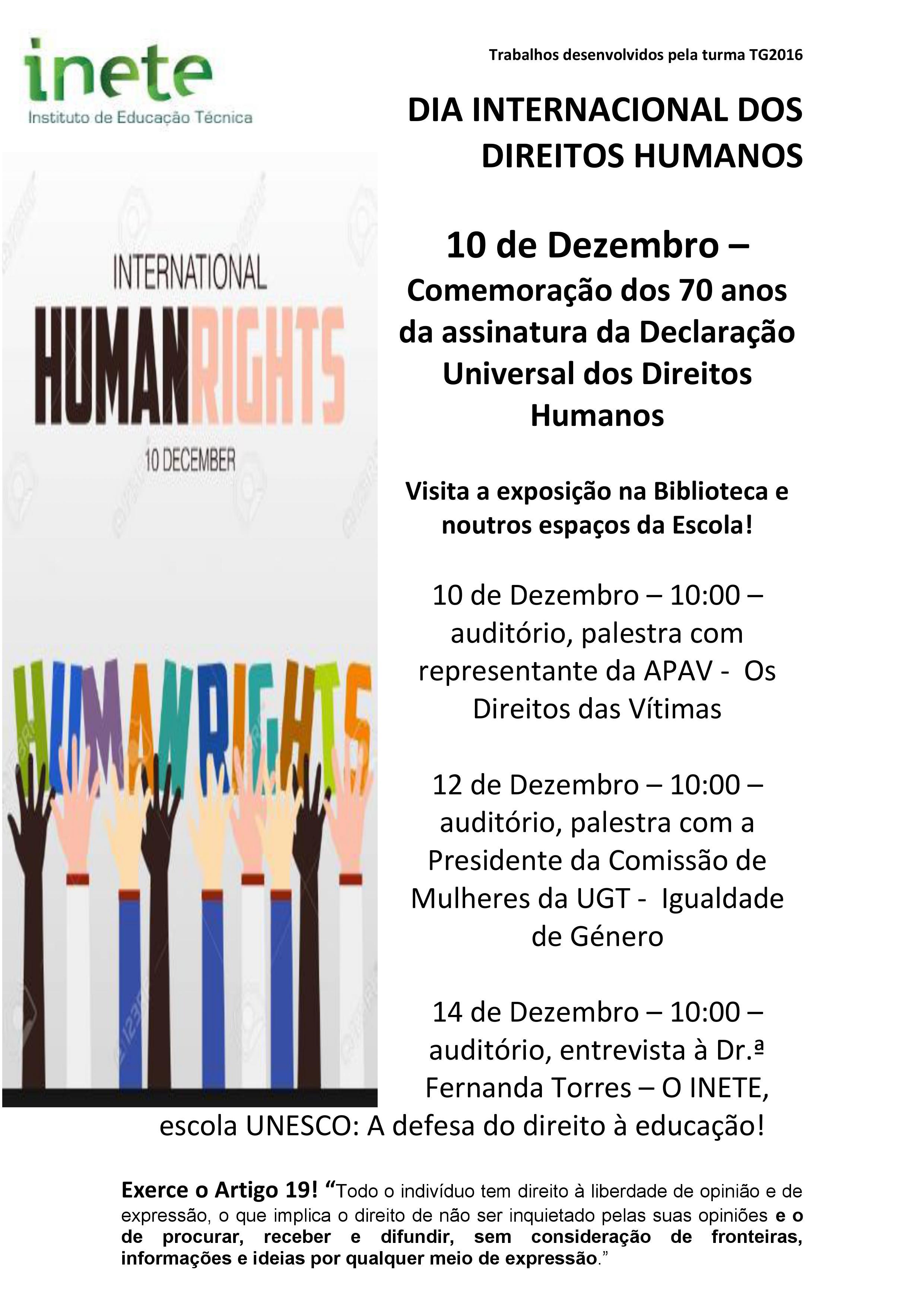 Conhecer e viver a Declaração Universal dos Direitos Humanos (DUDH)