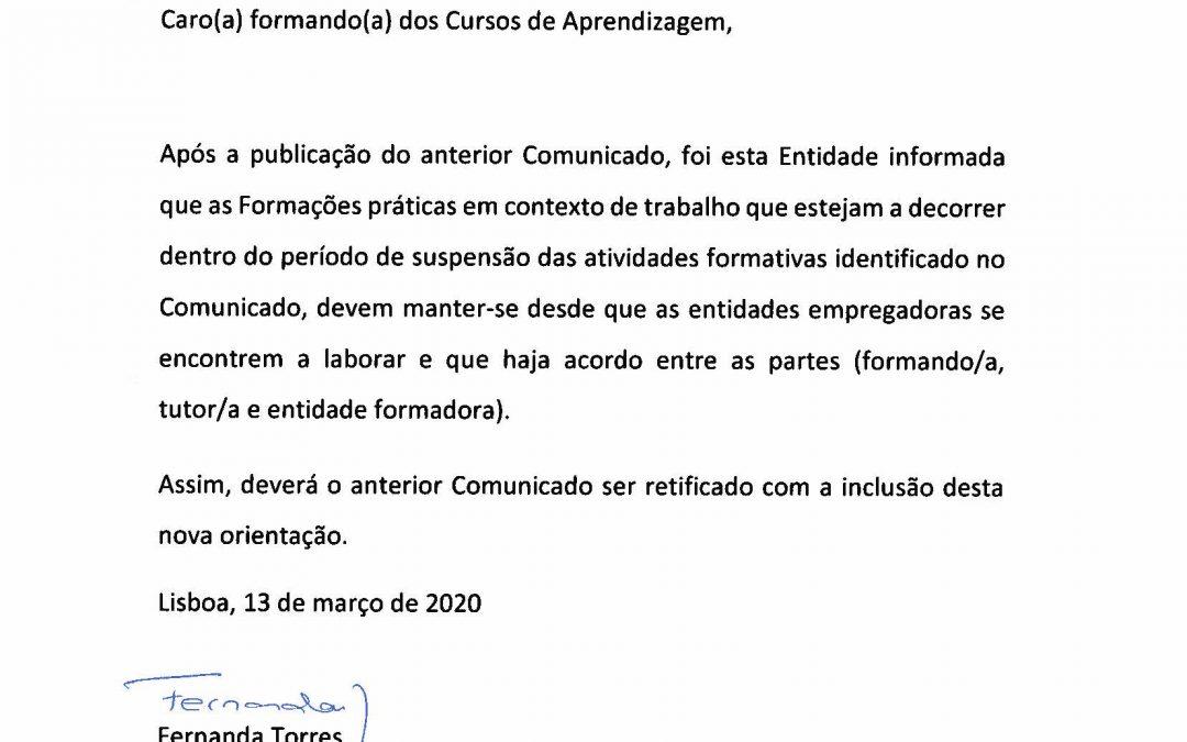 ADITAMENTO ao Comunicado Aprendizagem INETE -13.03.2020