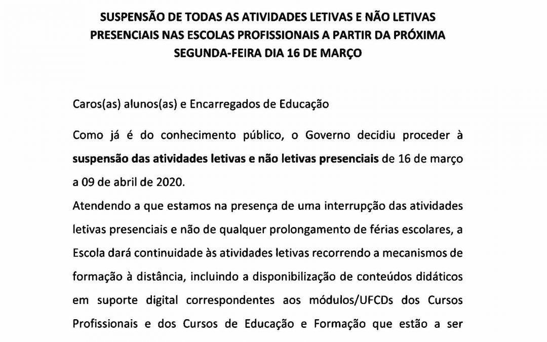 Comunicado Ensino Profissional INETE -13.03.2020